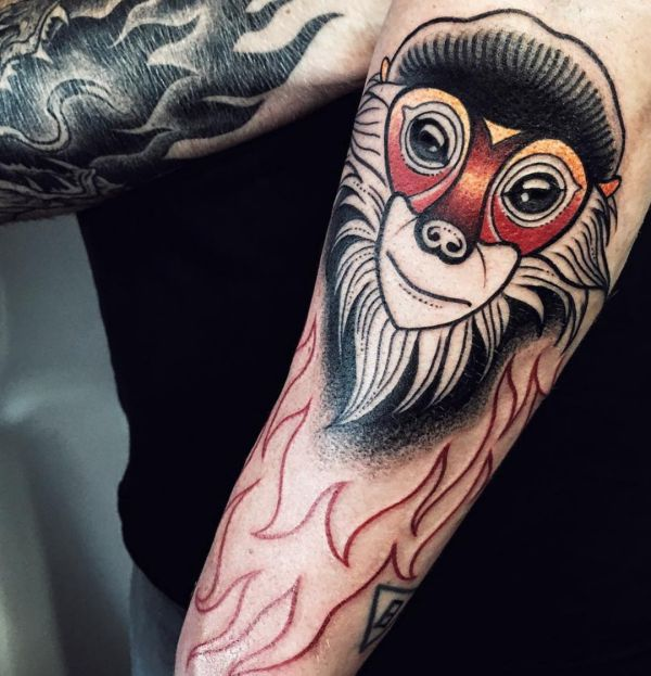 Affe Tattoo auf dem Arm
