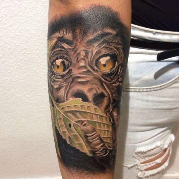 3D Affe Tattoo am Unterarm