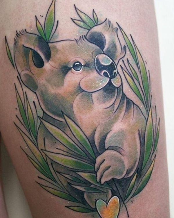 Koala Tattoo am Oberschenkel