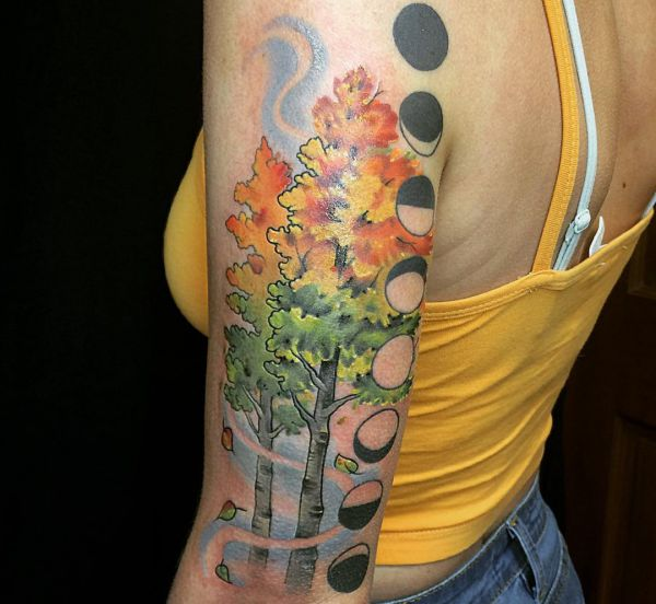 Espe (Zitterpappel)- Bäume Tattoo am Oberarm