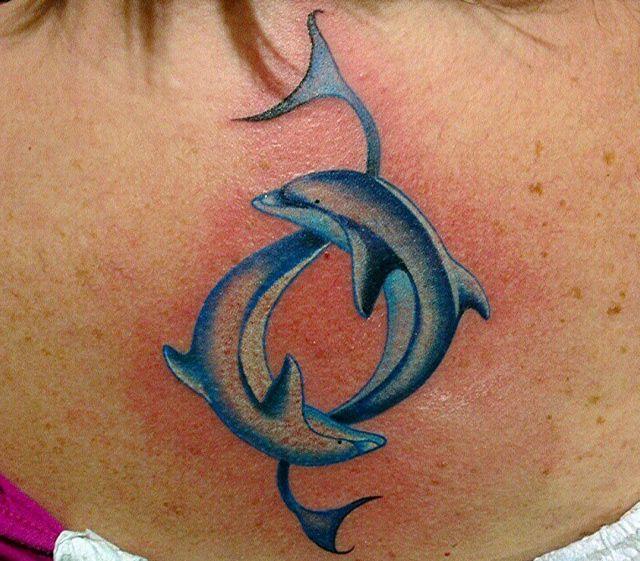 Zwei Delphin Yin-yang am Rücken