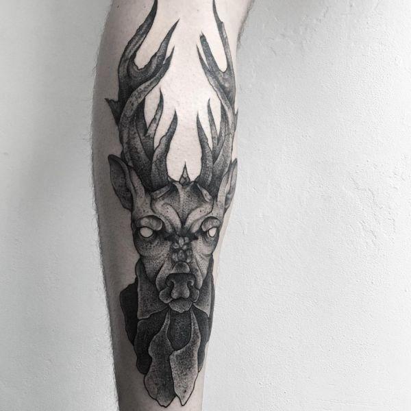 Tattoo Elchkopf Design Schwarz