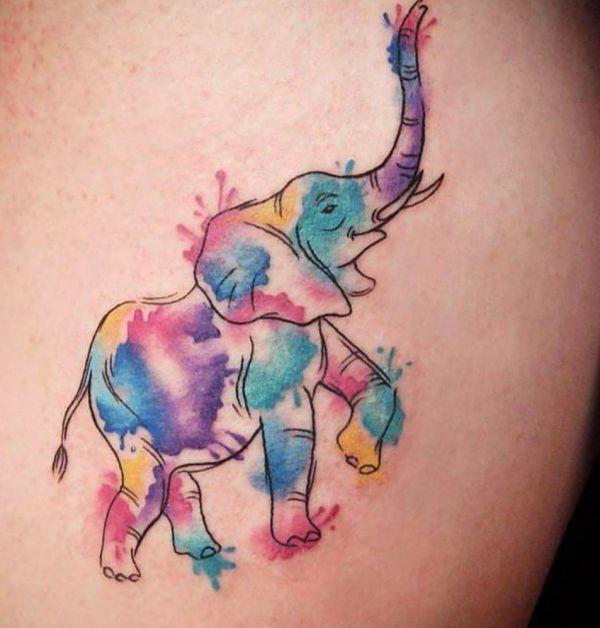 Wasserfarben Elefanten Design auf der Hüfte