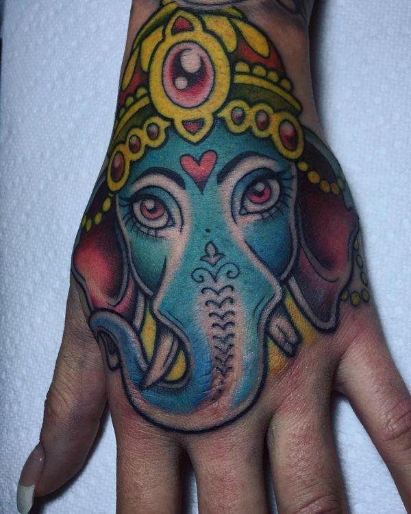 Indien Elefanten Design auf Hand