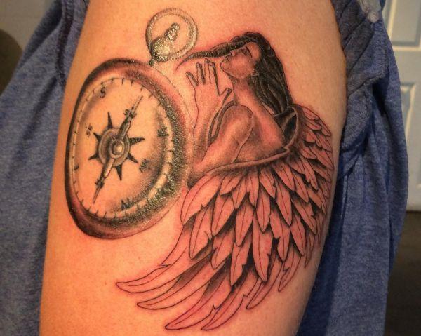 Engel mit Kompass Design