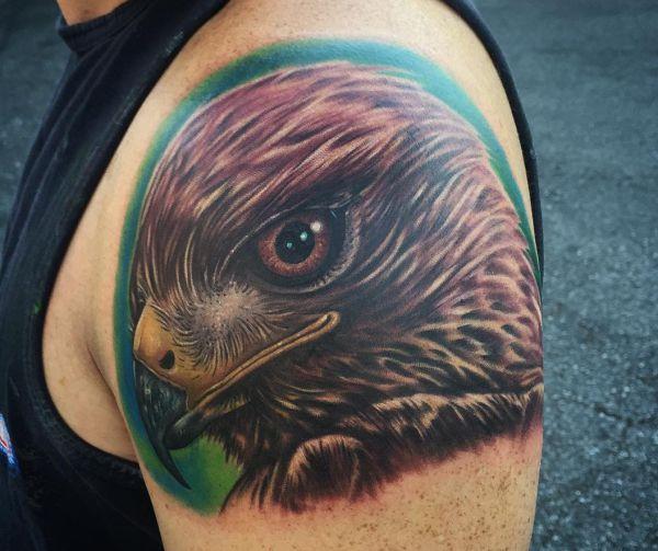 Falke Tattoo Realistisch am Oberarm