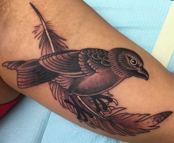 Feder Tattoo mit Vogel auf dem Arm
