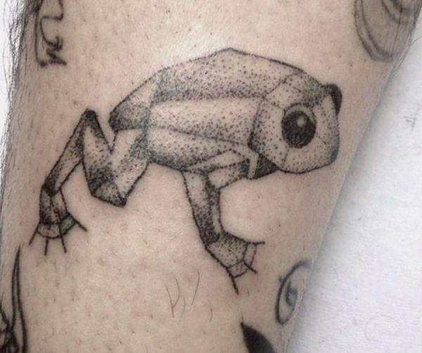 Frosch Tattoo auf der Bein Schwarz und weiß
