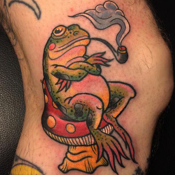 Spaß Frosch Tattoo auf der Bein