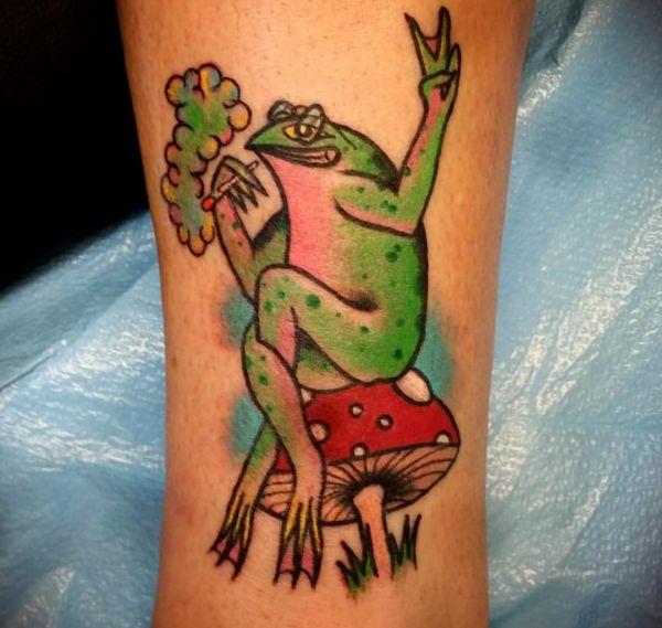 Friedensfrosch Tattoo Design auf der Bein