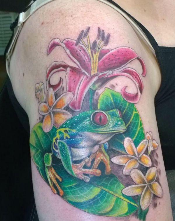 Realistisch Frosch mit Blumen Design