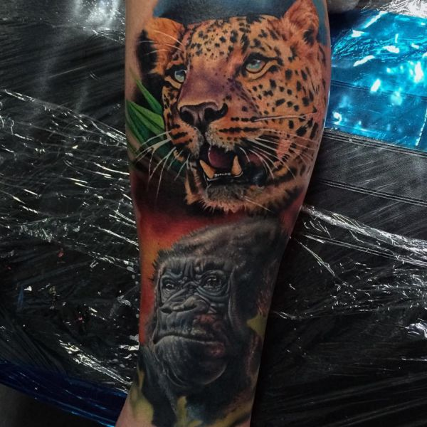 3D Jaguar und Gorilla Tattoo Design