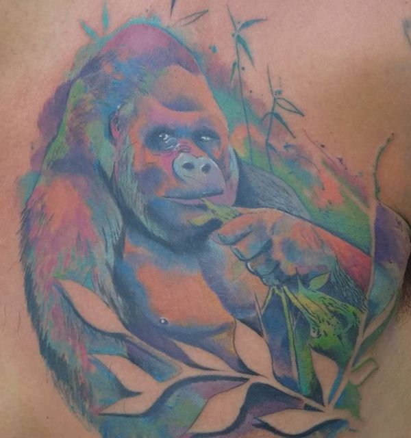 Tattoo Wasserfarben Gorilla Design