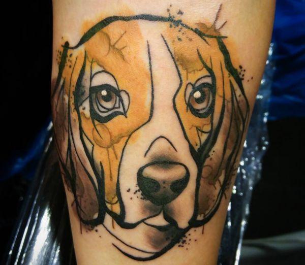 Abstract Hunde am Unterschenkel