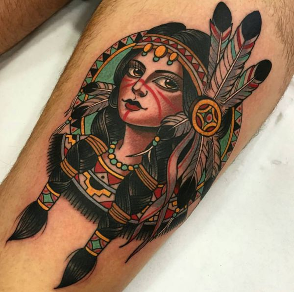 Indianer Girl Tattoo auf der Bein
