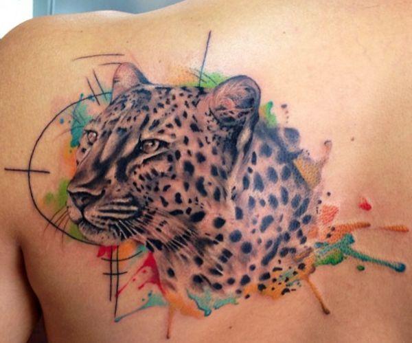Aquarell Jaguar am Schulterblatt