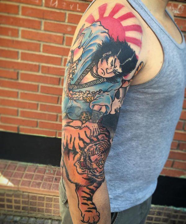 Japanischer Tattoo mit Tiger auf dem Arm