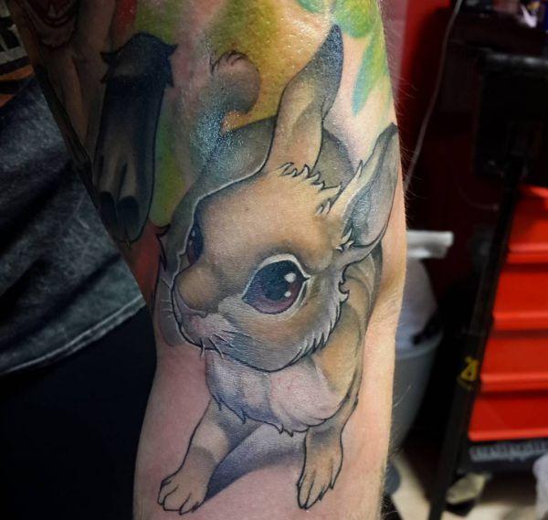 3D Kaninchen Design auf dem Arm