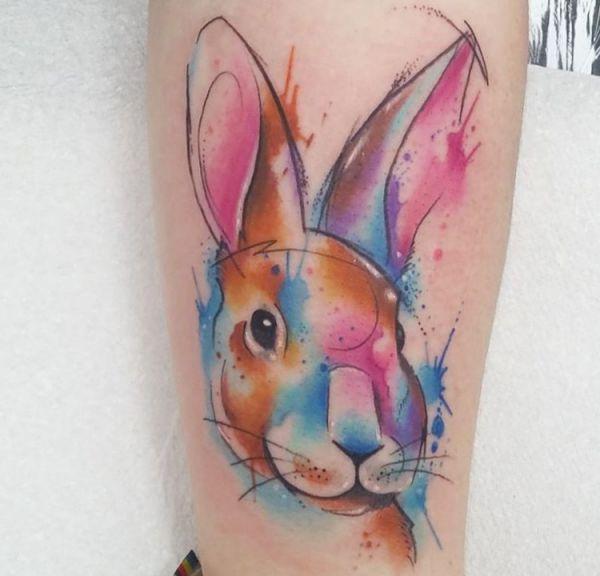 Aquarell Kaninchen Design am Unterschenkel