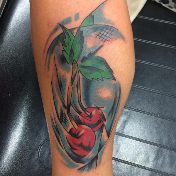 Kirsche Tattoo Design auf der Bein