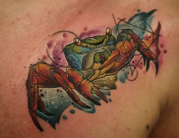 Aquarell Krabbe auf der Brust Männer