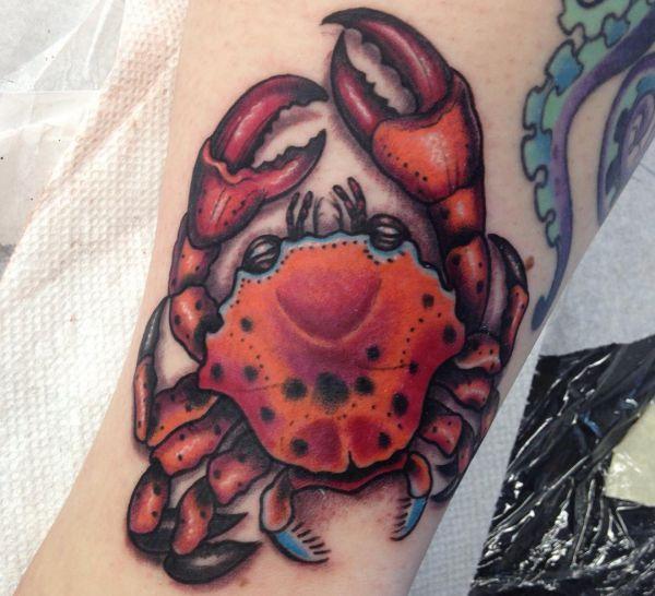 Krabbe Rot am Oberschenkel