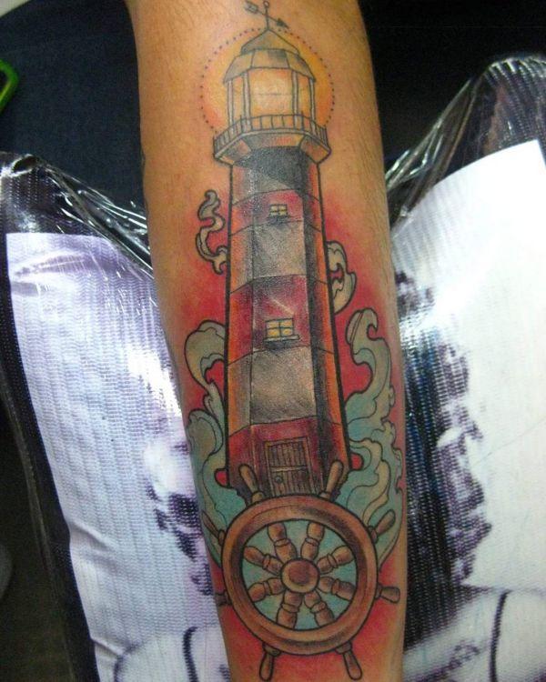 Leuchtturm mit Rudder auf der Bein