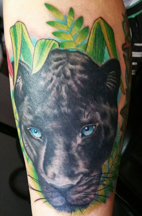 Schwarzer Panther Realistisch Design auf dem Arm
