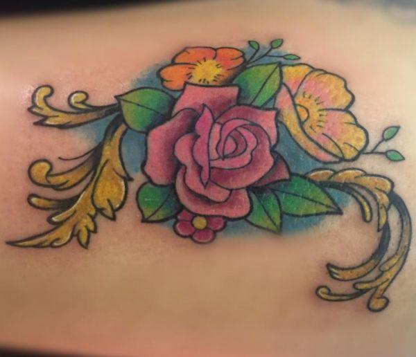 Rose und Blumen Design