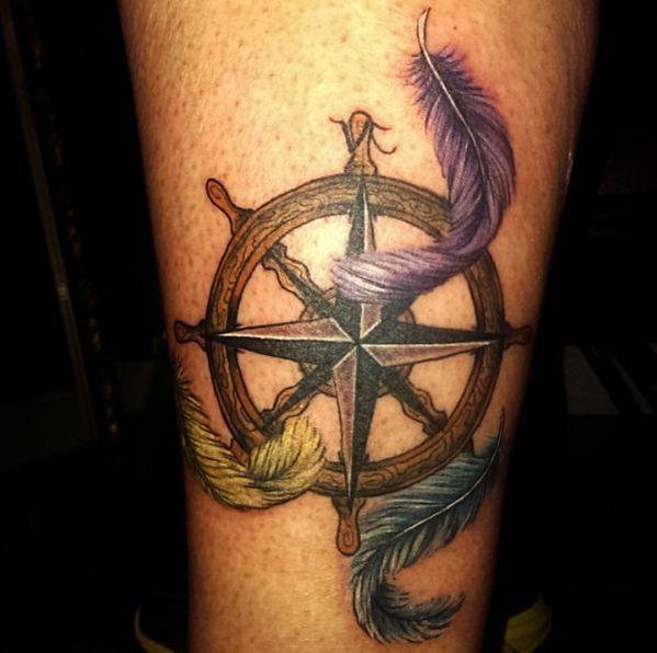 Schiffs-Rad mit Federn und Polarstern am Oberschenkel