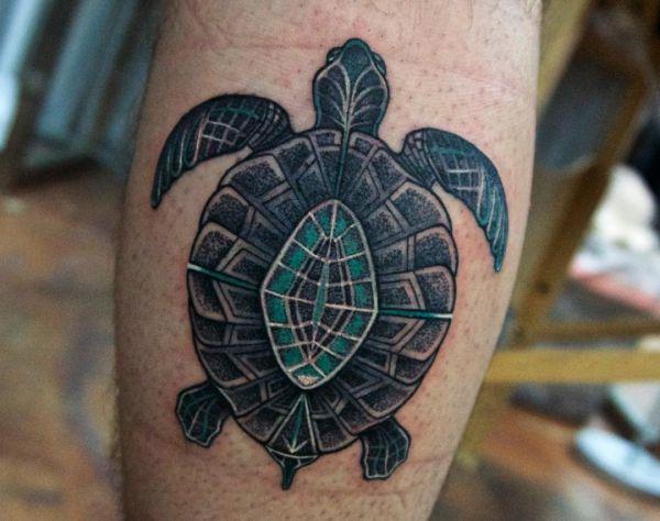 Schildkröten Tattoo Design auf der Bein