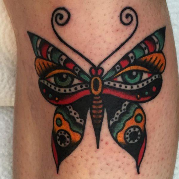 Bunte Schmetterling Design mit Augen auf der Bein