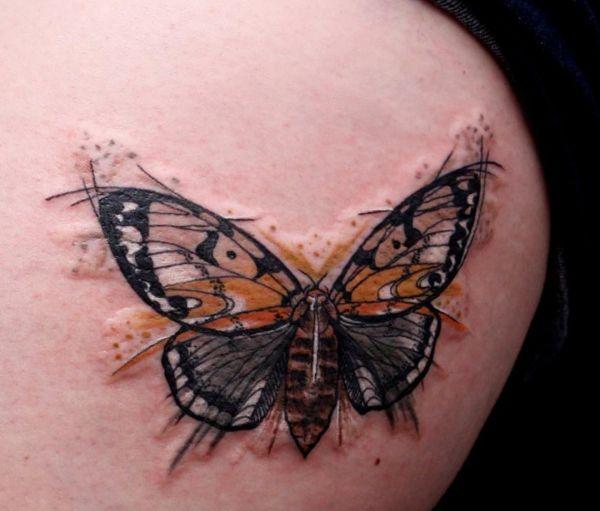 Aquarell Schmetterling Design auf der Hüfte