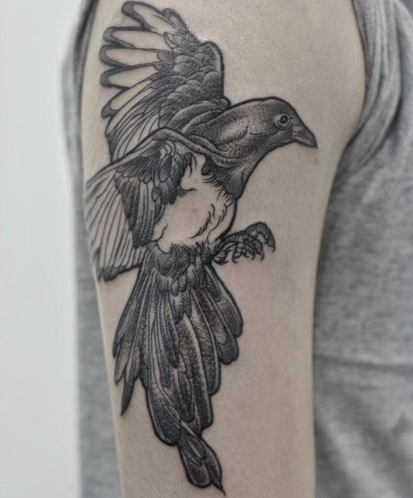 Elster Tattoo am Oberarm der Männer