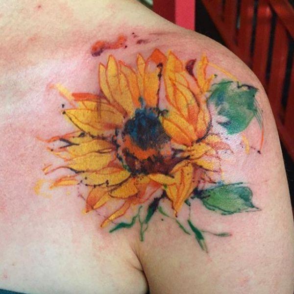 Wasserfarben Sonnenblumen Tattoo Design