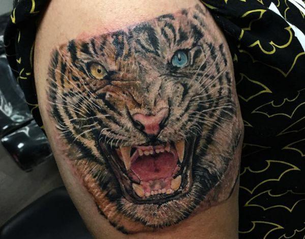 Realistisch Tiger Tattoo am Oberschenkel