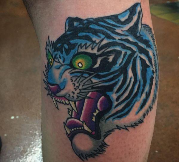Blau Tigerkopf Design