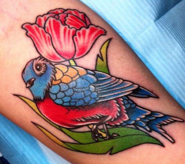 Tulpen mit Vogel Design